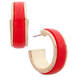 Nine West Coral & Gold Tone C Hoop Earrings