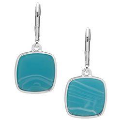 Nine West Blue Square Leverback Drop Earrings