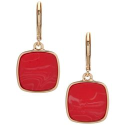 Nine West Gold Tone & Coral Square Drop Earrings