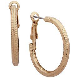 Nine West Textured Gold Tone Click It Hoop Earrings