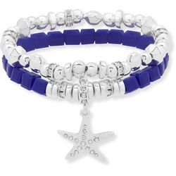 Nine West Blue & Silver Tone Starfish Charm Bracelet Set