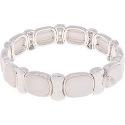 Nine West White Cabochon Link Stretch Bracelet