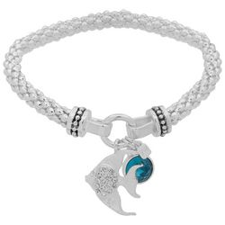 Nine West Fish Charm Silver Tone Stretch Bracelet