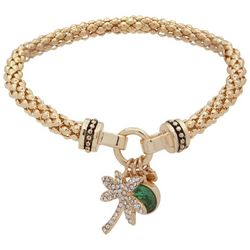 Nine West Palm Tree Charm Gold Tone Bracelet