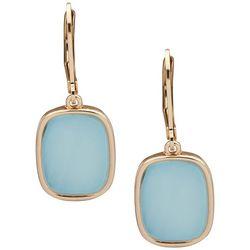 Nine West Blue Cabochon Stone Gold Tone Earrings