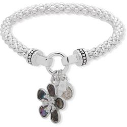Nine West Flower Charm Silver Tone Stretch Bracelet