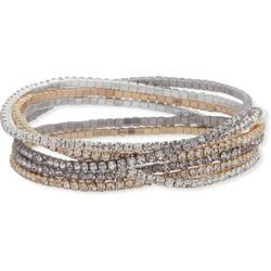 Nine West Tri Tone Rhinestone Stretch Bracelet Set