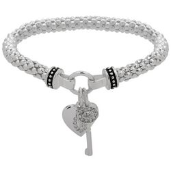 Nine West Heart & Key Charm Stretch Bracelet