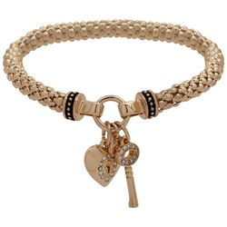 Nine West Gold Tone Heart & Key Charm Stretch Bracelet