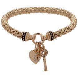 Nine West Gold Tone Heart & Key Charm Stretch Bracelet
