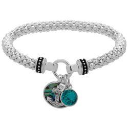 Nine West Silver Tone Anchor Charm Stretch Bracelet