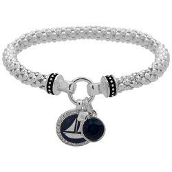 Nine West Silver Tone Sailboat Charm Stretch Bracelet
