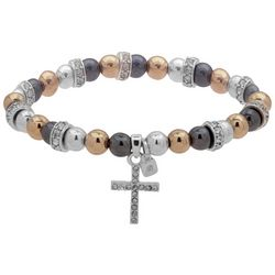 Nine West Cross Charm Tri Tone Stretch Bracelet