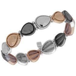 Nine West Teardrop Shapes Tri Tone Stretch Bracelet