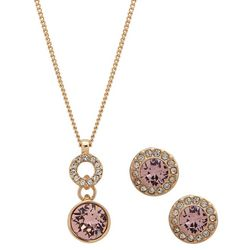 Nine West Double Drop Rhinestone Pendant Necklace Set
