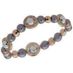 Nine West Tri Tone Ball Bead Rhinestone Stretch Bracelet