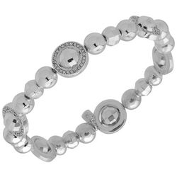 Nine West Silver Tone Rhinestone Ring Bead Stretch Bracelet