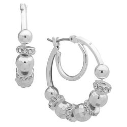 Nine West Silver Tone Rhinestone Bead Hoop Earrings