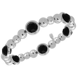 Nine West Silver Tone & Jet Black Round Stretch Bracelet