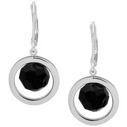 Nine West Silver Tone & Jet Black Bead Orbital Drop Earrings