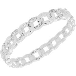 Nine West Silver Crystal Ring Stretch Bracelet