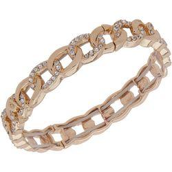 Nine West Gold Tone Crystal Ring Link Bracelet