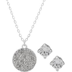 Nine West Pave Crystal Disc Pendant & Earring Set