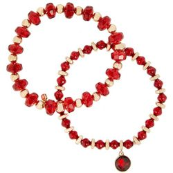 Nine West Boxed 2 Pc Red Beaded Stretch Bracelets