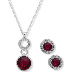 Nine West Red Crystal Pendant & Earring Set