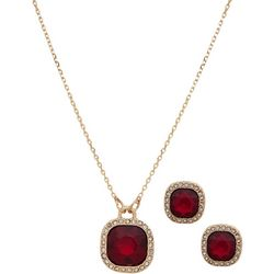Nine West Red Cushion Cut Pendant Necklace Set