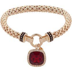 Nine West Red & Gold Tone Stretch Bracelet