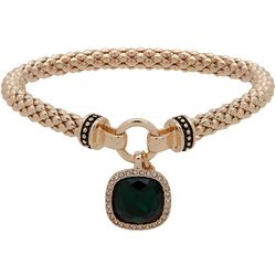 Nine West Green & Gold Tone Stretch Bracelet