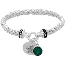 Nine West Holiday Star & Green Stone Drop Bracelet