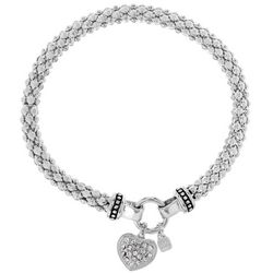 Nine West Pave Heart Charm Stretch Bracelet