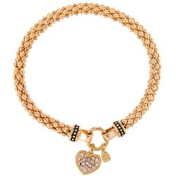 Nine West Pave Heart Gold Tone Stretch Bracelet