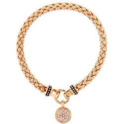 Nine West Pave Disc Gold Tone Stretch Bracelet