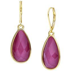 Nine West Gold Tone Raspberry Pink Teardrop Earrings