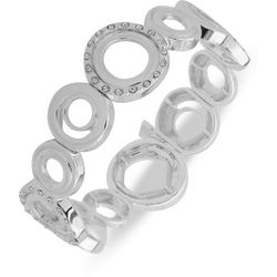 Nine West Silver Tone Multi Ring Stretch Bracelet