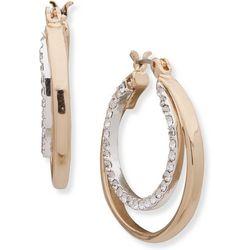 Nine West Double Row & Crystal Hoop Earrings