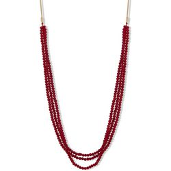Nine West Long Multi Row Red Beaded Necklace