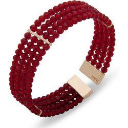 Nine West Multi Row Red Beaded Cuff Bracelet