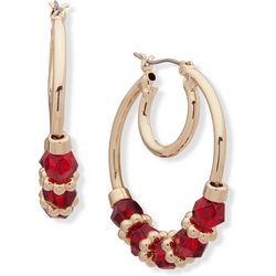 Nine West Red Beaded Click It Hoop Earrings