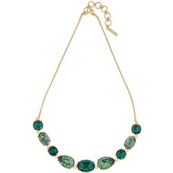 Nine West Multi Green Cabochon Frontal Necklace