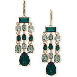Nine West Green Cabochon Chandelier Earrings