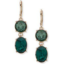 Nine West Green Double Facet Drop Earrings