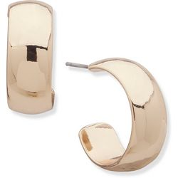 Nine West Gold Tone Wide C Hoop Post Earrings