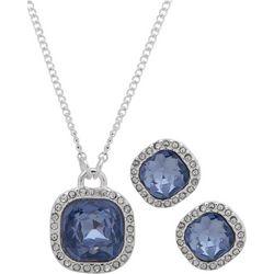 Nine West Blue Square Stone Necklace Set