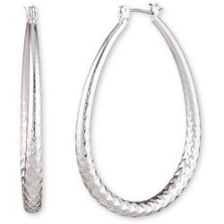 Nine West Silver Tone Textured Teardrop Hoop Earrings