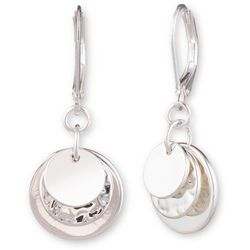 Nine West Silver Tone Layered Disc Drop Earrings