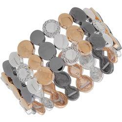 Nine West Tri Tone Multi Disc Stretch Bracelet